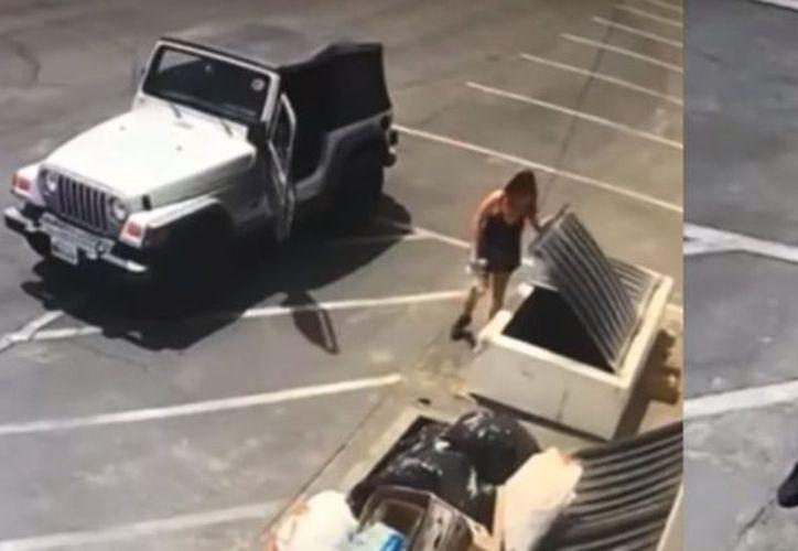 La mujer llegó en un Jeep y tiró a los perritos al contenedor. (Internet)