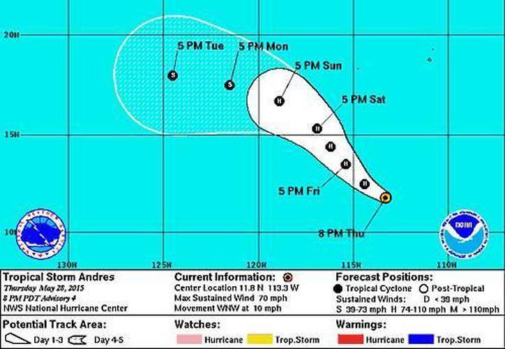 Según especialistas, 'Andrés' está causando olas de hasta cuatro metros y rachas de hasta 110 kilómetros por hora. La imagen es un pronóstico de su trayectoria, según el NOAA. (nhc.noaa.gov)