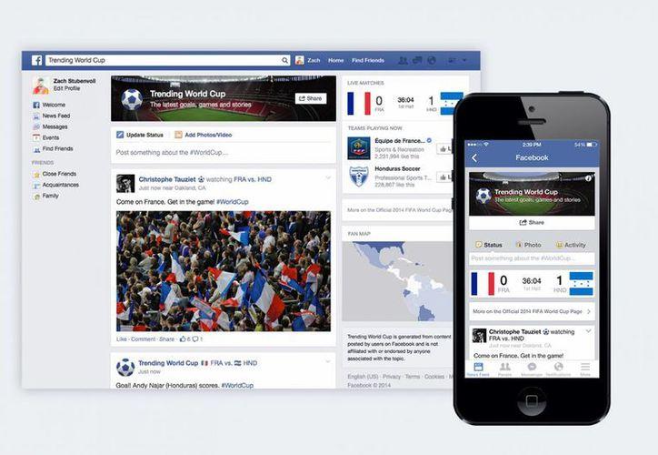"""Esta imagen sin fecha proporcionada por Facebook muestra """"Copa Mundial de Tendencias"""" característica especial de la red social. (Agencias)"""