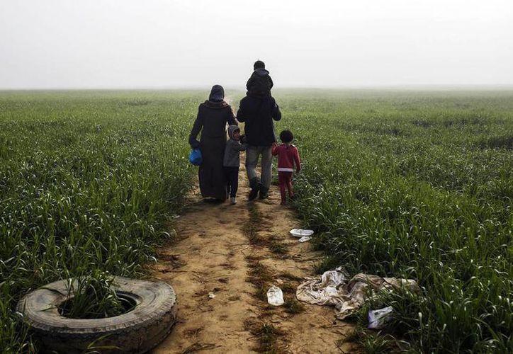 Una familia de refugiados camina por un sendero rural en la localidad griega de Idomeni, cerca de la frontera entre Grecia y Macedonia. Hoy se celebra el Día Internacional del Migrante. (Agencias/Archivo)