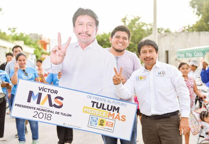 El candidato consolida su campaña en las colonias Tumben Kah y Mayapax. (Cortesía)