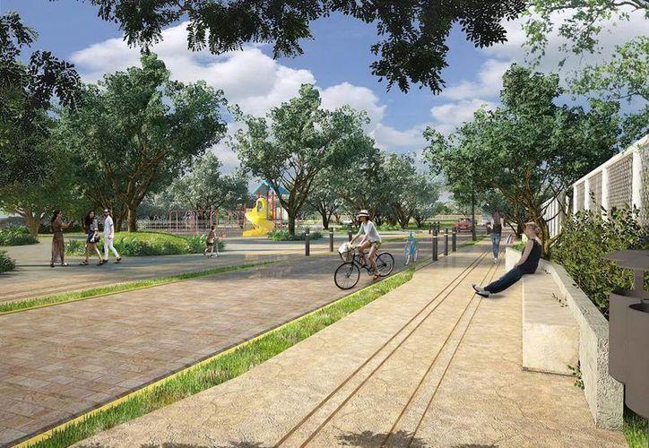 Imagen del Proyecto Integral de Mejoramiento de Infraestructura Urbana en el sector norte-Gran Plaza, que incluye la construcción de andadores y áreas infantiles. Fue presentado ayer por el Alcalde de Mérida. (Milenio Novedades)