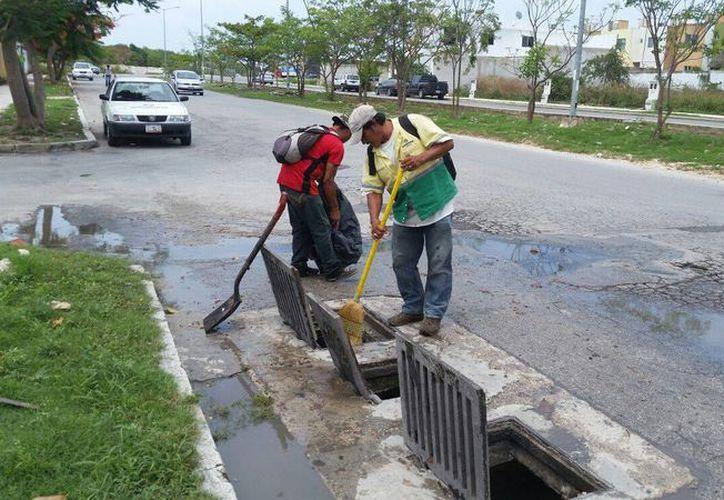 Trabajadores municipales retiraron 100 kilogramos de basura de las alcantarillas. (Octavio Martínez/SIPSE)