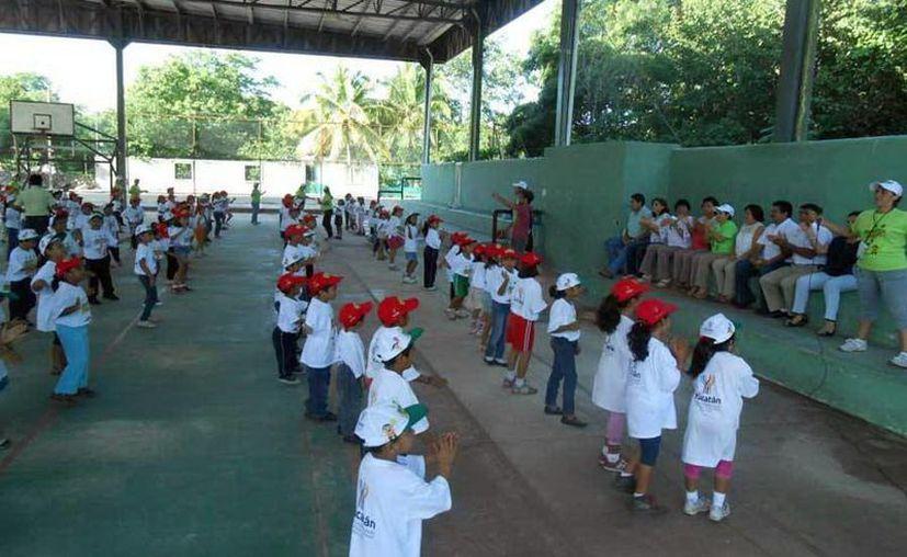 Estudiantes de primaria realizan una macroclase de ejercicio. (Milenio Novedades)