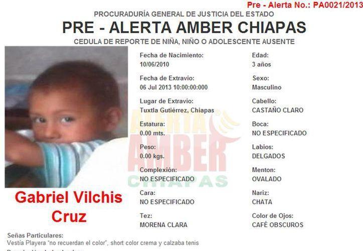 Emiten Alerta Amber para Gabriel Vilchis Cruz de 3 años. (amberchiapas.org.mx)