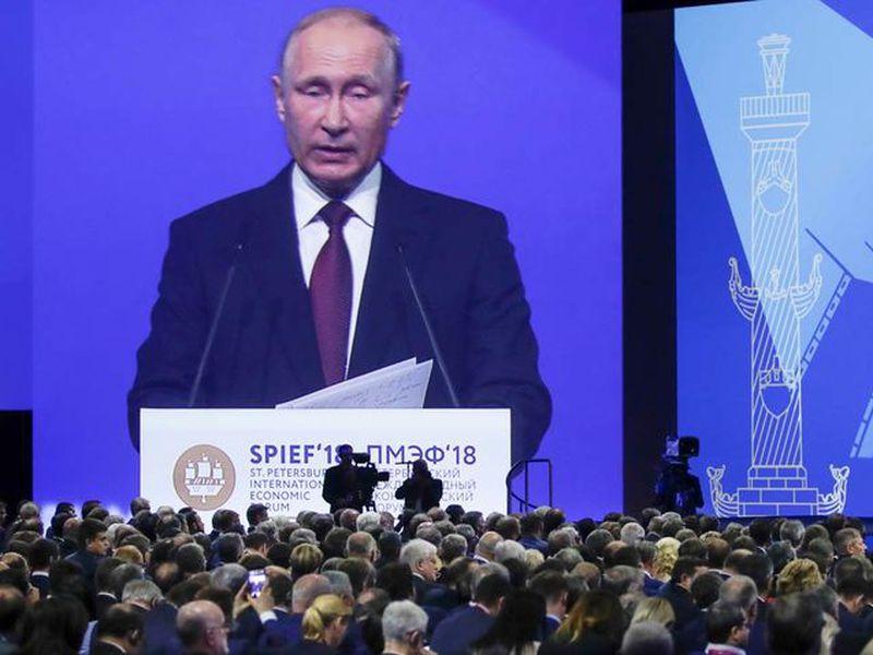 Russian President Vladimir Putin speaks at the St. Petersburg International Economic Forum in St. Petersburg, Russia. (AP)