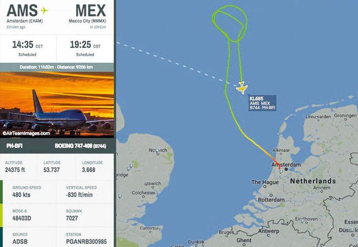 El avión, un Boeing-747, va a regresar al aeropuerto de Ámsterdam. (RT)
