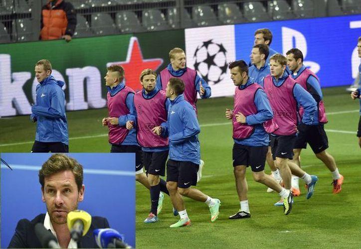 El club Zenit se entrena con vistas a su duelo de Champions frente al Dortmund. En recuadro, André Villas Boas, quien tomará las riendas del equipo el jueves. (EFE/Agencias)