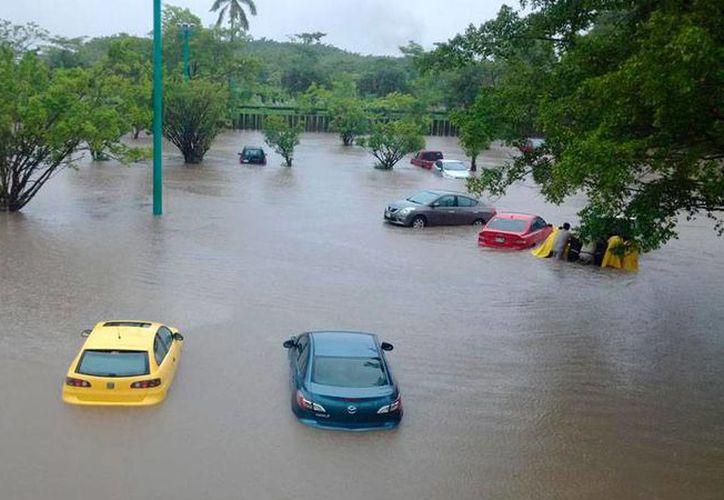 La lluvia intensa del frente frío número 12 prácticamente dejó bajo el agua gran parte de Tabasco. La imagen corresponde a una zona de Villahermosa. (Twitter RPO @Naraku_hanyo)