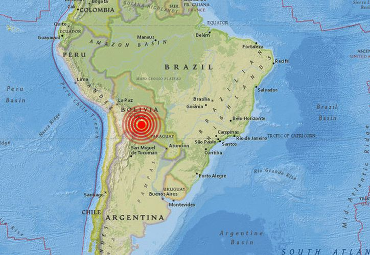 Un terremoto de 6.8 grados en la escala de Richter sacudió la mañana de este lunes la zona sur de Bolivia. (USGS)