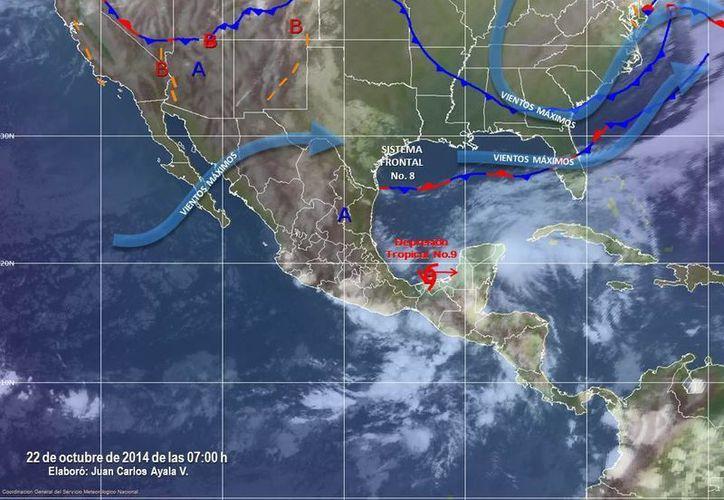 Imagen del Servicio Meteorológico Nacional que muestra la interpretación de la trayectoria de la Depresión Tropical número 9, este miércoles a las 07:00 horas. (www.conagua.gob.mx)