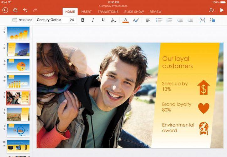 Imagen de pantalla difundida por Microsoft muestra la versión para iPad del app de Microsoft PowerPoint. (Agencias)