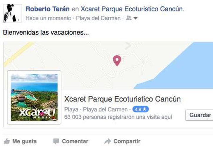 Los usuarios de Facebook colocaron a Xcaret dentro de las tendencias en Chekc-ins en la red social. (Impresión de pantalla)