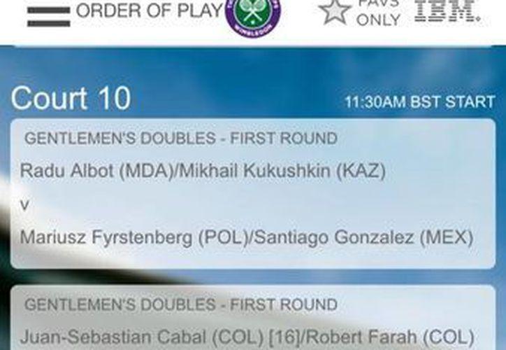 Programa del debut de Santiago González en jornada matutina de Wimbledon, que dio a conocer el mismo tenista mexicano. (Twitter: Santiago González)