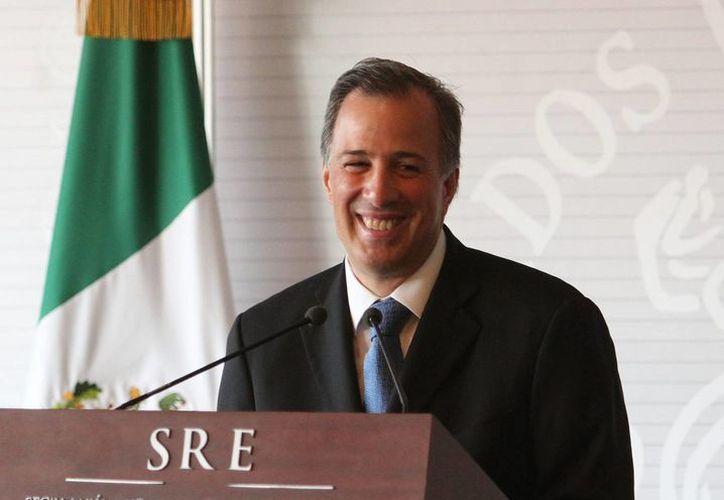 El secretario de Relaciones Exteriores, José Antonio Meade Kuribreña, ofreció una conferencia de prensa en el Foro Económico Mundial. (Agencias)