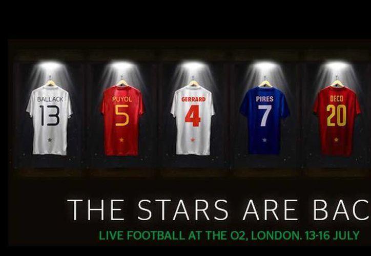 Carles Puyol, Steven Gerrard, Roberto Carlos y Michael Ballack son hasta ahora las estrellas confirmadas para participar en el 'Star Sixes', Mundial de Leyendas, en Inglaterra en julio. (Foto:Star sixes)