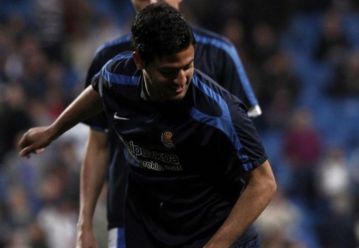 En su segunda temporada con la Real, Vela lleva 764 minutos en la cancha y tres goles en la Liga este año. (Archivo Notimex)