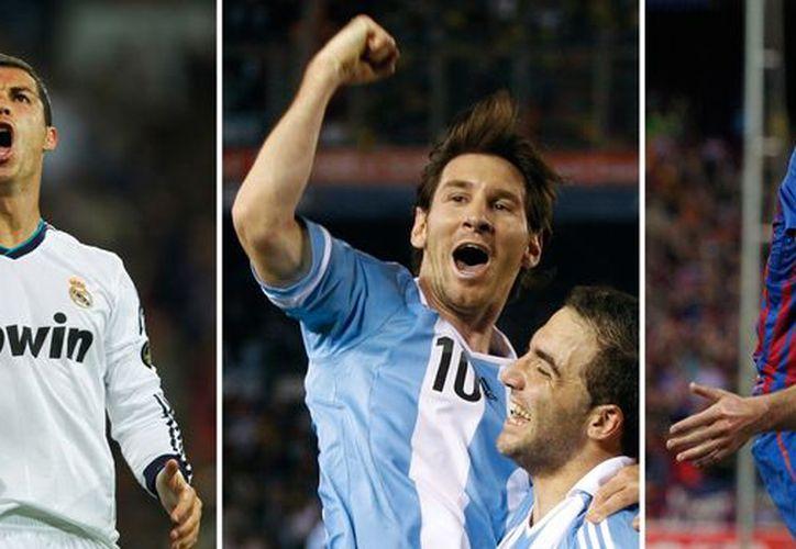 Los tres jugadores nominados a Balón de Oro juegan en la Liga de España. De izquierda a derecha: Cristiano Ronaldo, Messi e Iniesta. (Agencias)