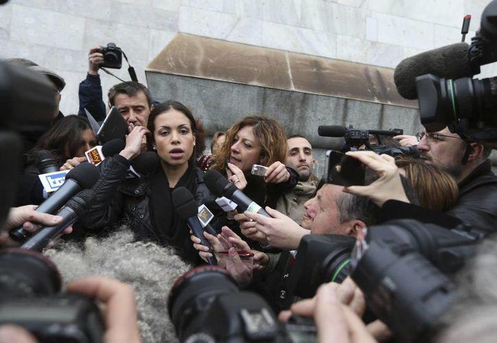 Ruby al arribar a la corte de Milan el 4 de abril de 2013. (Agencias)