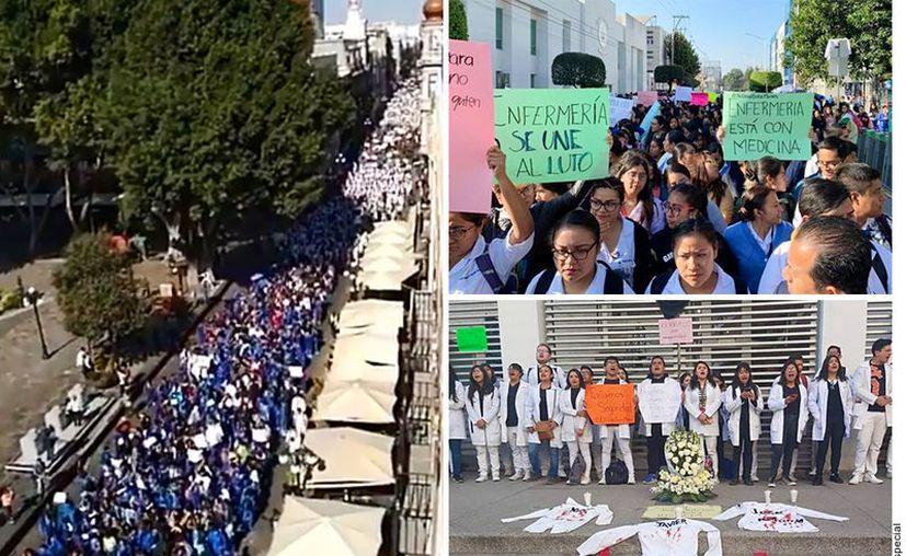 Alumnos de la BUAP y la UPAEP marchan en Puebla para exigir justicia tras el asesinato de tres compañeros que estudiaban medicina. (Agencia Reforma)