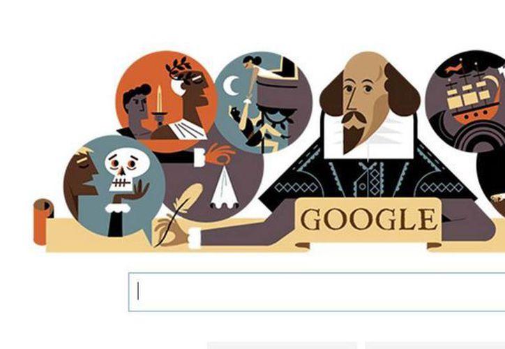 Este día, Google se encuentra conmemorando los 400 años de la muerte de Shakespeare, con un doodle en el que resalta la figura del poeta. (Captura de pantalla)