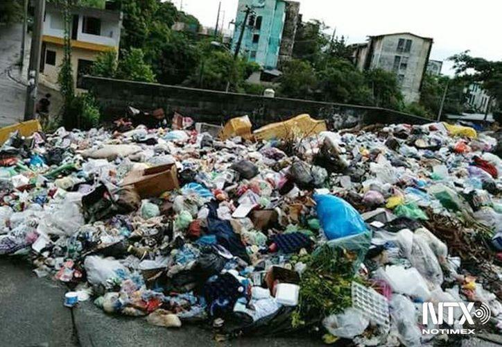 Autoridades han tenido que rociar la basura con cal, para evitar el mal olor. (Notimex)