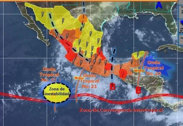 La Onda Tropical Número 22 afectará con lluvias al norte de Q. Roo.  (Servicio Meteorológico Nacional)