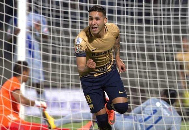 Ismael Sosa marcó el sexto gol más rápido en la Copa Libertadores en la victoria de Pumas 4-2 sobre el Emelec en su debut en la Copa Libertadores. (Imagen UNAM)