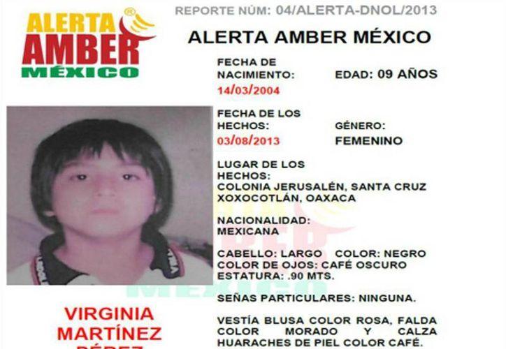 Virginia Martínez Pérez, de nueve años de edad, desapareció en Oaxaca. (Internet)