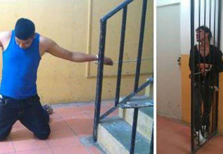 Imagen de dos detenidos encadenados en los separos de la Secretaría de Seguridad Pública del municipio de San Luis de la Paz, Guanajuato. (Foto:www.lajornada.com)