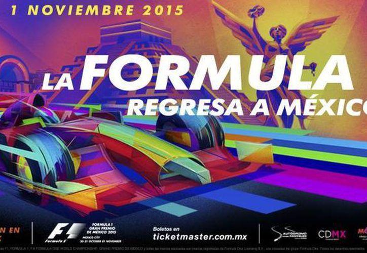 El cartel del Gran Premio de México cuenta con influencias del muralismo mexicano, combinados con trazos dinámicos y veloces en alusión al automovilismo. (ahr.mx)