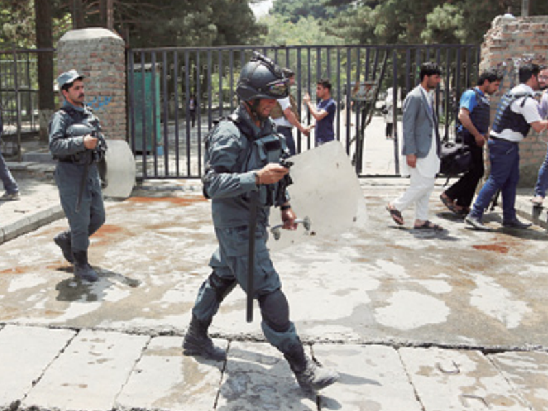 Security personnel arrived at the site of a would-be suicide attack near a park in Kabul, Afghanistan.