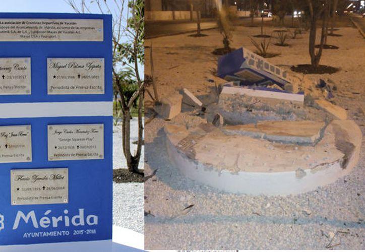 El antes y después de este monumento, el cual apenas fue colocado en febrero pasado. (Milenio Novedades)