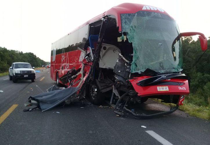 En el autobús viajaban aproximadamente 40 pasajeros, habían salido de Cancún con destino Veracruz. (Foto: SIPSE)