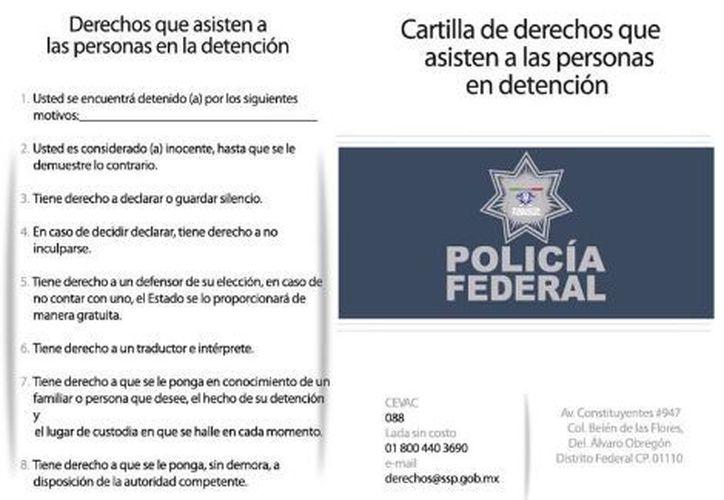 La Policía Federal mostrará a las personas arrestadas esta cartilla y se les ofrecerá información. (Foto: especial)