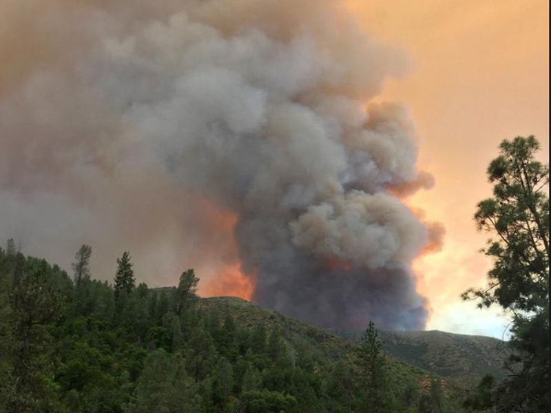 The Ferguson Fire burns near Yosemite National Park, as seen from El Portal, Calif.