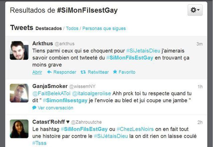 Cientos de comentarios racistas pueden observarse en la versión francesa de Twitter.  (Captura de pantalla)