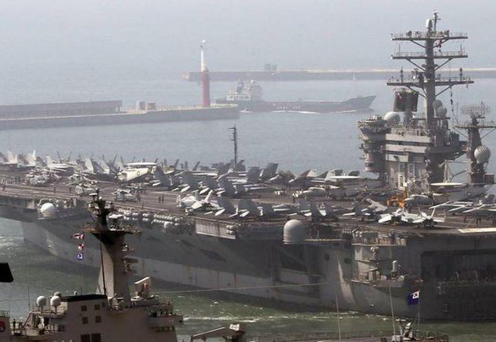 En las maniobras participará el portaaviones de propulsión nuclear estadounidense USS Nimitz, que llegó el sábado a aguas surcoreanas entre fuertes críticas de Corea del Norte. (EFE)