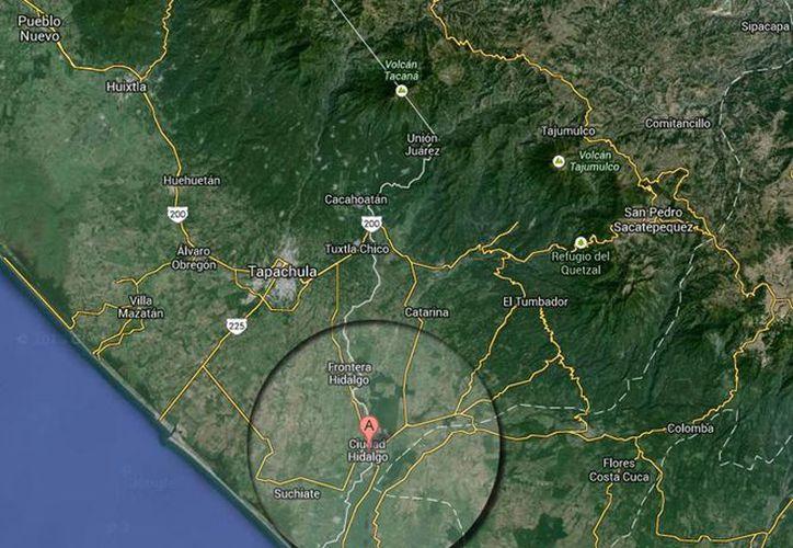 El epicentro del sismo fue en Ciudad Hidalgo, Chiapas. (Captura de pantalla de Google Maps)
