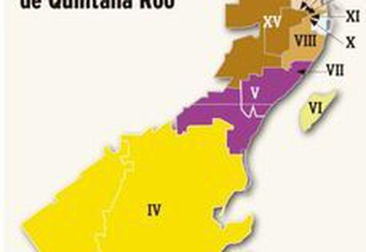 El mapa electoral del Estado de Quintana Roo. (Redacción/SIPE)