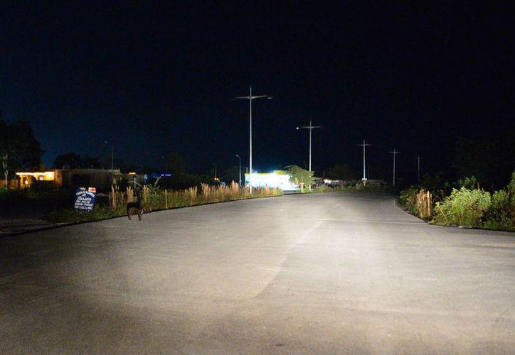 La iluminación en las calles de la colonia Félix González Canto quedaría lista antes que concluya el año. (Gustavo Villegas/SIPSE)