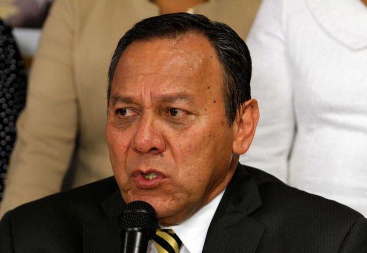 Jesús Zambrano, presidente nacional del PRD, en conferencia de prensa. (Notimex)