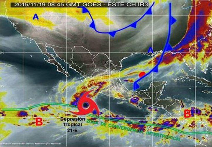 La Conagua publicó en su cuenta de Twitter una imagen del monitoreo que mantienen sobre la  depresión tropical 21-E. (twitter/@conagua_clima)