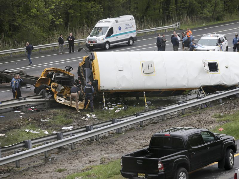 Thirty-eight students and seven adults were on the bus. Forty-three people from the bus and the truck driver were hospitalized, some in critical condition. (AP)