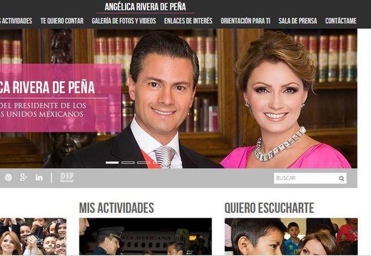 Imagen de la portada del sitio web de  Angélica Rivera de Peña, donde pretende enseñar el trabajo que se hace por quienes más lo necesitan. (Captura de pantalla)