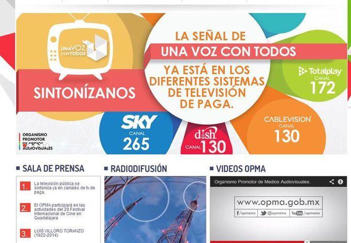 La imagen del nuevo canal del TV ya puede verse por diferentes canales de televisión de paga. La imagen corresponde a la 'portada' del sitio web OPMA, encargado de la producción del canal. (SIPSE.com)