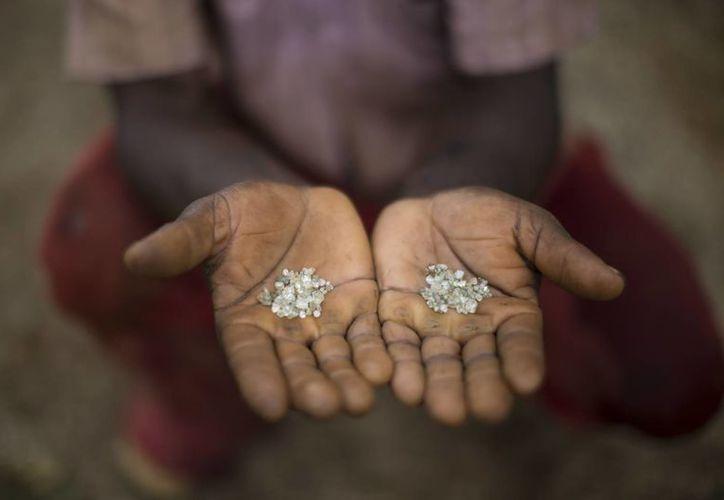 Un minero artesanal muestra los diamantes que él y su grupo encontraron en una mina abandonada en Areinha, en el estado de Minas Gerais, Brasil. (Agencias)