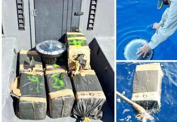 Las autoridades de Costa Rica aseguraron al menos 500 kilos de cocaína que estaba adherida a una boya satelital en Quepos. (Twitter: @seguridadcr)