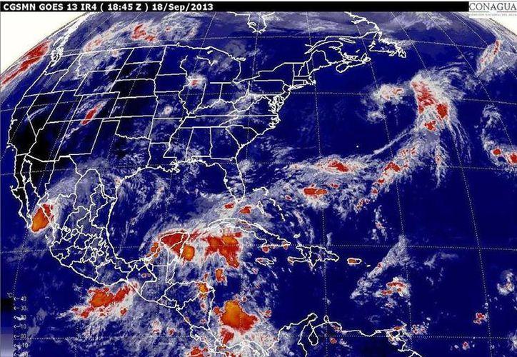 La zona de mal tiempo abarca prácticamente toda la Península de Yucatán. (Conagua)