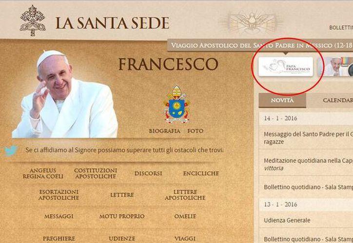 Imagen de la portada del sitio web del Vaticano, en donde se ve un botón especial dedicado a la visita del Papa a México. (vatican.va)